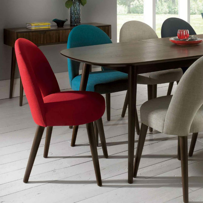 Fill your dining area with colors red chair inspiration for Red dining room table and chairs