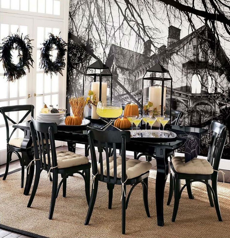 7 upholstered chairs for the creepiest halloween dining for Haunted dining room ideas