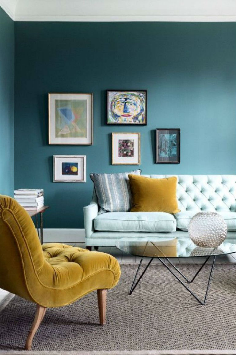 Yellow and Teal Living Room Ideas