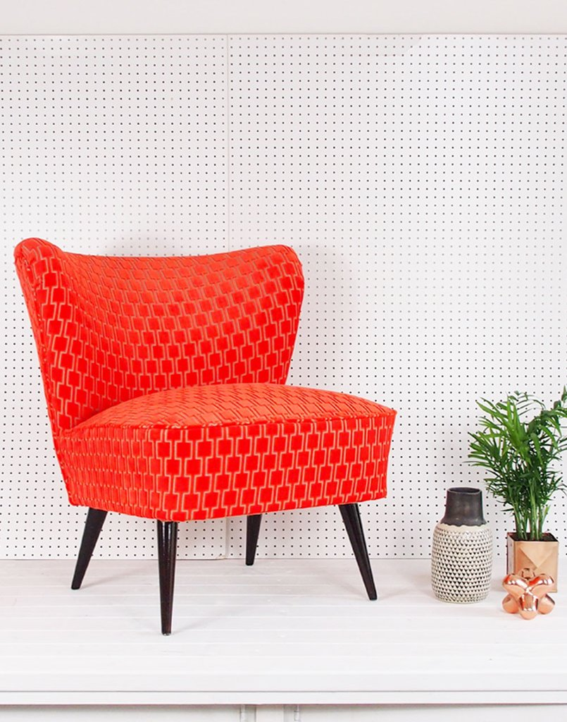 Consider A Corlorful Velvet Chair To Set The Mood For Summer velvet chair Consider A Colorful Velvet Chair To Set The Mood For Summer Galapagos Bartholomew Cocktail Chair in Neon Orange Bakerloo Velvet 1 1024x1024