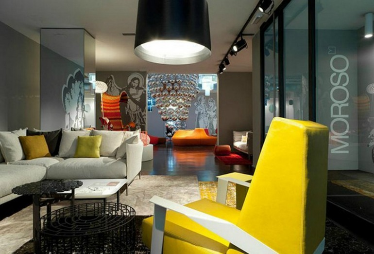 The World's Top Luxury Stores Featuring Modern Chairs modern chairs The World's Top Luxury Stores Featuring Modern Chairs Milan Interior Design Furniture Shops part 1 Moroso Milan Showroom e1389011808372