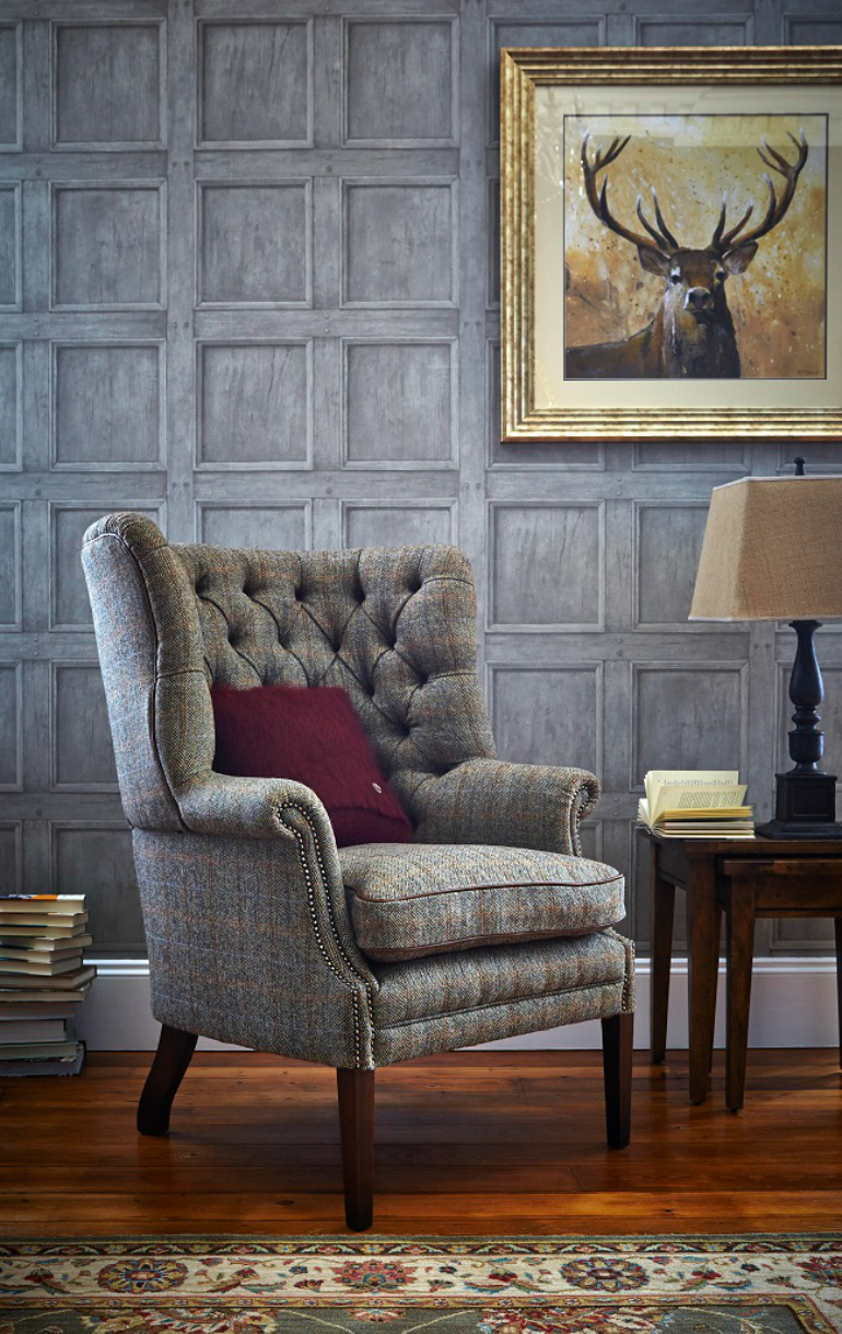 A Must-Read Guide To The Wingback Chair wingback chair A Must-Read Guide To The Wingback Chair traditional living rooms harris tweed wingback armchair