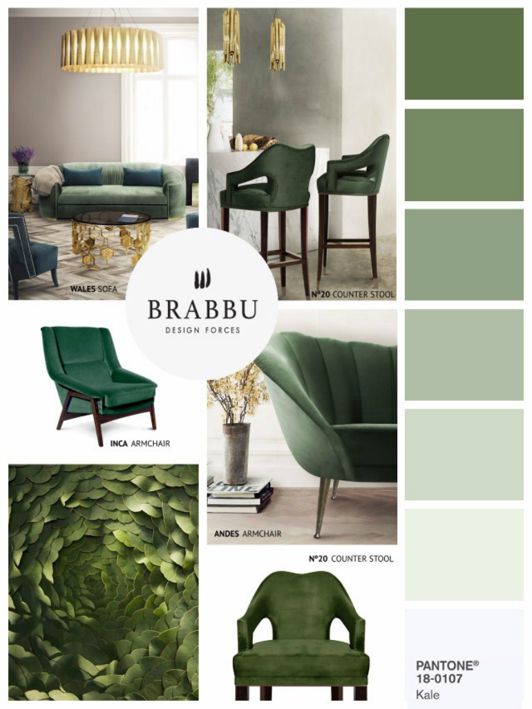 Pantone's Kale: A Top Trendy Color For Modern Chairs modern chairs Pantone's Kale: A Top Trendy Color For Modern Chairs 7 Amazing Mood Boards To Inspire Your Spring Home Decor Project 3