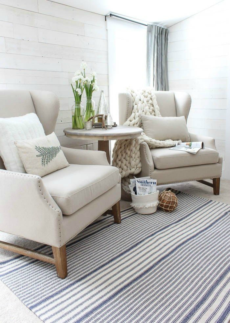 7 Sublime Living Room Chairs Featuring Wood living room chairs 7 Sublime Living Room Chairs Featuring Wood Two neutral wingback chairs via stikwood