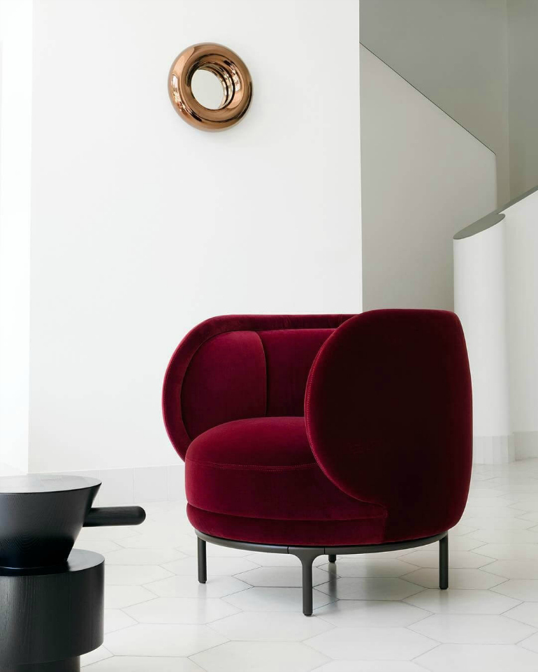 10 Statement Modern Chairs That Honor Fourth Of July modern chairs 10 Statement Modern Chairs That Honor Fourth Of July claret red chair in white room