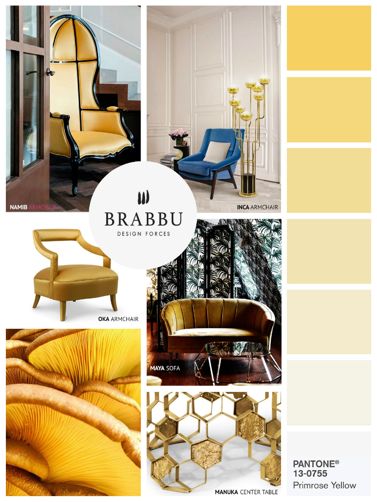 Primrose Yellow: The Perfect Pantone Color For Velvet Chairs velvet chairs Primrose Yellow: The Perfect Pantone Color For Velvet Chairs moodboard by brabbu 5 HR