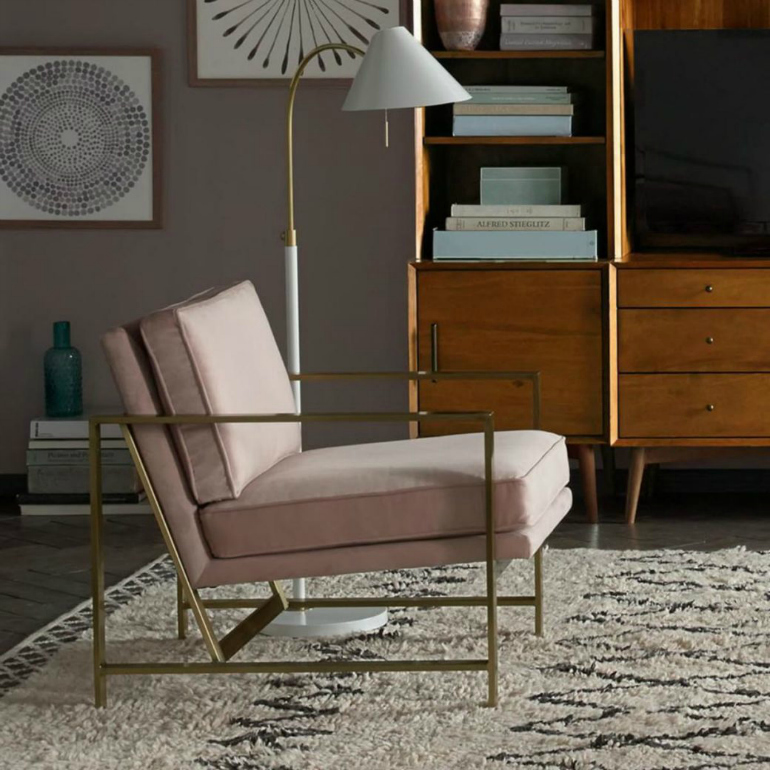 7 Beautiful Square Velvet Armchairs You Will Fall For velvet armchairs 7 Beautiful Square Velvet Armchairs You Will Fall For pink velvet and brass armchair from westelm 1040x1040
