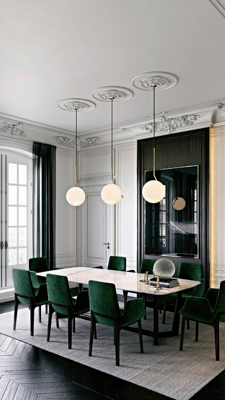 modern chairs 8 Spectacular Dining Room Ideas Featuring Modern Chairs interieur haussmannien moulures canape velours vert emeraude FrenchyFancy 3