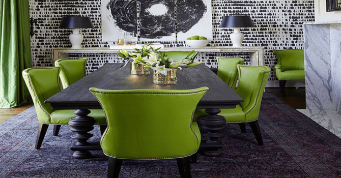 Color Trends Of Modern Chairs You Need To Know For 2018 modern chairs Colour Trends Of Modern Chairs You Need To Know For 2018 dining room with lime green chairs black white wallpaper pantone greenery