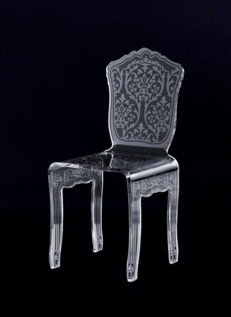 cocolea furniture Cocolea Furniture – A Commanding Collection of Chairs Renaissance Lucite Acrylic Carved Pattern Dining Chair 745x1024